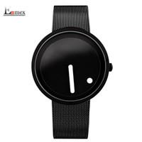 montre-bracelet à pois achat en gros de-cool montre-bracelet de style minimaliste en acier inoxydable design créatif Dot et ligne simple montre de mode à quartz élégant S914
