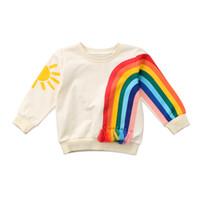 güneş kıyafetleri toptan satış-Çocuk Bebek Erkek Kız Gökkuşağı Sunshine Hoodies Giyim Kış Çocuk Kız Kazak Sıcak Uzun Kollu Tops