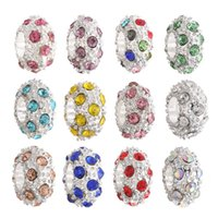 Wholesale movie hole online - 5mm Hole diameter Tibitan Sliver DIY Jewelry Rhinestone Alloy Colors Loose Beads European Colorful Bead For Bracelets Necklaces