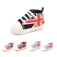 Wholesale Girls Jack - The Union Jack Newborn Shoes Anti-Slip Baby Boy Canvas Shoe Infant First Walker Girls Sneakers Children Plimsolls Boots Flag Sport Sneaker