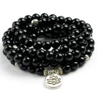 contas de pedras de ônix colares venda por atacado-Natural Black Onyx Mala 108 Beads Colar Pulseira Mulheres Homens árvore Vida Om Pedra Encantada Poderosa proteção Yoga Jewelry