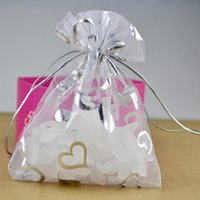 Wholesale Tulle Bags Wholesale - Wholesale- Free Shipping 100 piece White Heart Organza Wedding Gift Bags & Pouches11x16cm Tulle Jewelry Packaging Bags