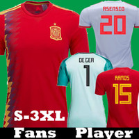 futbol forması gömlek ispanya toptan satış-Oyuncu Versiyon 2018 İspanya Asensio'daki ISCO RAMOS Morata Futbol Formalar 2019 Espana PIQUE INIESTA DIEGO COSTA kalecisi De GER Gömlekler camisetas