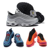 sapatos esportivos tamanho 46 venda por atacado-97 TN VPM Sapatos Triplo Branco Preto Rosa Sapatos de Corrida Og Metálico de Ouro Bala De Prata Dos Homens Formadores Sapatilhas Dos Esportes Das Mulheres Tênis Tamanho 36-46