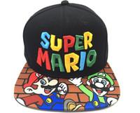 супер марио бейсболки оптовых-Игра Super Mario Bros Регулируемая Snapback Бейсболка Черная Кепка Косплей Подарок
