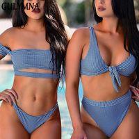 brasilianischer bikini xs großhandel-Großhandel Sommer Plaid Bandage Brazilian Bikini 2018 Bademode Frauen Mayo Sexy Bandeau Badeanzug Badeanzug Maillot De Bain Femme