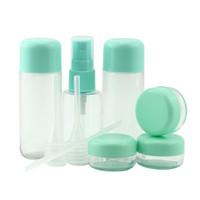 conjunto de botellas de crema de plástico al por mayor-8 Unids / set Mini Botellas Transparentes de Plástico Vacío Maquillaje Contenedor de Viaje Botella Sombra de Ojos Maquillaje Crema Facial Olla