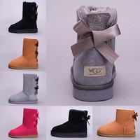café féminin achat en gros de-UGG Australia Boot Designer WGG femmes hiver bottes de neige australie court court genou cheville noir gris châtaigne marine bleu rouge café pas cher dame fille taille 36-41