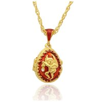 Wholesale faberge egg pendant - Fit European luxury brands necklace angel crystal pendant necklace Faberge eggs, Easter gifts