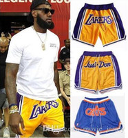 Wholesale camp pants - 2018 Just Don LA Basketball outdoor Short Pants Men Fashion Top Quality yellow All Stitched Pants Sport Embroidery shorts