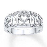 18k platinum china venda por atacado-Mãe do presente do dia das mães anel banhado com anel de diamantes de platina 18k para ornamentos femininos