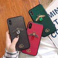 iphone s oro al por mayor-Diseñador de lujo Marcas Gold Luxury Bee, caja de teléfono con piedras preciosas para iPhone X XS Max XR 8 7 7 plus 6 6 s más los casos de Shell de teléfono de moda