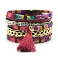 ingrosso nappe esotiche-Moda Infinity Multistrato Strass PU Leather Handmade Braided Bracelet Magnete Fibbia Exotic Boho Tassel Charm Bracciali 7 colori