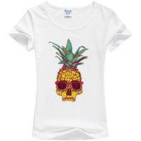Wholesale Oem Cooler - Wholesale- OEM women cool mohicans pineapple skull printed punk t shirt fashion short sleeve o-neck milk silk women harajuku tops