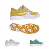 Wholesale Golf Shoes Brown Leather - TTC The Creator x One Star Golf Ox Le Fleur Wang Green Yellow Beige Sunflower Casual Fashion Running Skate Shoes Sneakers (2 Laces,Dust Bag)