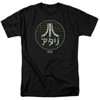 jeux vidéo japonais achat en gros de-Atari Japanese Grid Classic Jeu Vidéo T-shirt Homme Noir
