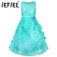 24473004c1037 iEFiEL Enfants Filles Fleur Robe Arc Formelle Partie Prom Princesse Pageant  Robes De Fille De Fleur pour les Mariages et Partie Taille 4-14Y