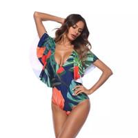 Wholesale swimwear beach wear for ladies online - Euro Style Floral One Piece Swimwear For Women Deep V Collar Frillery Sexy Lady Summer Beach Wear Open Back Push Up Monokini Bathwear XL