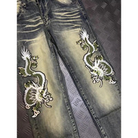 Wholesale Cashmere Jeans - Men Jeans Famous Brand Fear of God Zipper Skinny Slim Fit Man Distressed Justin Bieber Dragon embroidery Cotton Jeans Large size 28-40