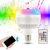 Wholesale Audio Control Android - Wireless bluetooth LED speaker 12W RGBW Music Audio Playing Light Bulb SmartLamp AC100-240V for iOS Android with Remote Control