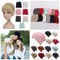 bebek şapkalı beanies toptan satış-Ebeveynler Çocuklar Örme Şapkalar Bebek Anneler Kış Örme Şapkalar Sıcak Trendy Beanies Tığ Açık Hımbıl Kasketleri CCA Caps
