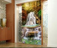 декор кленового листа оптовых-Современный кленовый лист рыбы падает прихожая фото обои рулоны HD настенная роспись гостиная диван ТВ фон декор стены водопад фрески