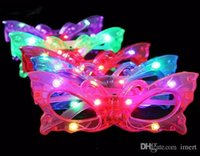 ingrosso gli occhiali di halloween si illuminano-Farfalla LED lampeggiante Occhiali Light Up Rave Toys per Halloween Masquerade Mask Dress Up Christmas Party Decoration Supplies