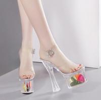 su geçirmez sandalet kadın toptan satış-Yaz yeni moda 18 CM Şeffaf yüksek topuklu kadın ayakkabı su geçirmez şeffaf kelime ile kaba topuk sandalet moda stil