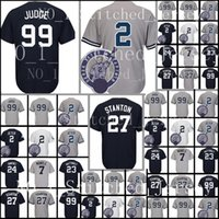 Wholesale mantle man - Men's 99 Aaron Judge 2 27 23 Don Mattingly 7 Mickey Mantle Jersey New York Deep blue White Grey Baseball Jerseys Cheap sales