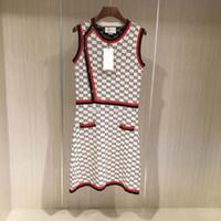 silk mini dress al por mayor-19ss marca de diseño de lujo vestido de tweed de las mujeres de alta calidad falda sin mangas vestido de algodón de seda con rayas de punto MINI VESTIDO BODYCON fiesta