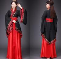 alte chinesische kostüme frauen großhandel-Hanfu Nationalkostüm Ancient Chinese Cosplay Kostüm Ancient Chinese Hanfu Frauen Kleidung Lady Stage Dress