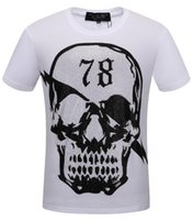 Wholesale organic tee shirts - 2018 Autumn Men T Shirt Fashion Short Sleeve t-shirt Clothing Casual Skull Letter print Hip Hop Male Tops Tee #18762