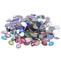 cuentas de formas de resina al por mayor-100 unids 4x6mm Colorido Rhinestones de Acrílico Flatback Oval Forma Facetas de la Tierra AB Colores Pegamento En Cuentas de Resina DIY Nail Art Decoration