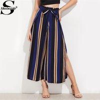 Wholesale Legging Pant Navy Women - Wholesale-Sheinside Navy Split Side Wide Leg Cropped Pants 2017 Autumn Elegant High Waist Women Striped Pants Zipper Bow Tie Loose Pants