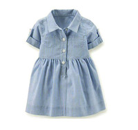 светло-голубые короткие платья девушки оптовых-Девушка лето с коротким рукавом полосатый отложным воротником платье светло-голубой юбка Детская одежда CN G028