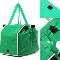 Wholesale fashion shopping cart - Non-Woven Shopping Bag Green Foldable Reusable Women Supermarket Handbag Clip to Cart Grocery Bag OPP Bag Package OOA5399