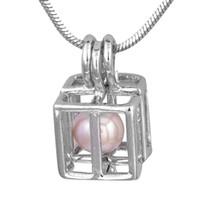 ingrosso gabbia in ottone-Luminoso Argento Ottone Cube Hollow Aperto Perle Gabbia Medaglione Olio Essenziale Aroma Diffusore Pendente di Fascino Ciondolo Ciondolo Gioielli P116