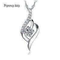 aaa diamant halskette großhandel-Großhandel Diamant Anhänger Halskette AAA Kubikzircon 30% 925 Sterling Silber Anhänger Halskette Für Hochzeit Frauen Schmuck