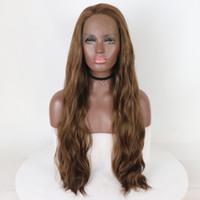 ingrosso luce resistente al calore-Parrucca anteriore di bellezza marrone chiaro parrucche di bellezza di bellezza parrucca frontale lunga del merletto naturale dell'onda con capelli sintetici resistenti al calore per il restyling