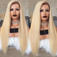 seksi kadın sarışın saç toptan satış-Yeni Seksi Stil 150% Yoğunluk Uzun Düz Ombre Sarışın Dantel Ön Peruk Ile Bebek Saç Tutkalsız Isıya Dayanıklı Sentetik Peruk Siyah Kadınlar Için