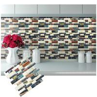 Wholesale wholesale black mosaic tile - Peel And Stick Backsplash Removable Self Adhesive Mosaic Art Tile Wall Sticker Vinyl Bathroom Kitchen Home Decor DIY