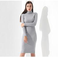 siyah örgü uzun kollu elbiseler toptan satış-Vestidos Kazak Elbise Kadınlar Örme Kış Uzun Kollu Elbise Femme Balıkçı Yaka Siyah Elbise Sıcak Sonbahar Bayan Giyim Garemay