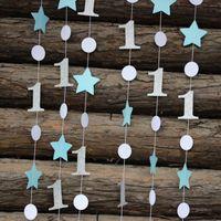 Wholesale girls 1st birthday decorations resale online - Eco Friendly pieces Feets Blue Silver Birthday Decorations Star Garland Onederland Decor st Birthday Garland Boy Girl