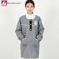 linda cocina coreana al por mayor-2018 Korean Cute Rabbit pattern kitchen Delantal Cotton Long Sleeves Delantales Adult Coffee Shop Cleaning Delantales para mujer Delantal Cocina