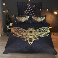 ingrosso piumini neri-Set letto Moth Moth Teschio Copripiumino Set biancheria da letto Nero Golden Home Tessili per adulti Farfalla Boho Biancheria da letto Twin Queen King Size 3pz