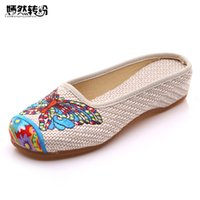 Wholesale chinese sandals - Vintage Women Slippers Summer Butterfly Fashion Chinese Old Peking Casual Flower Shoes Woman Sandals Plus Size 41