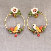 Wholesale Les Nereides - France Les Nereides Enamel Glaze Copper Trendy Hibiscus Flowers Owl Gem Women Stud Earrings