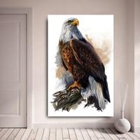 pinturas águias águias venda por atacado-1 Pcs HD Impressão Qaulity Pinturas A Óleo Da Lona Águia Animais Modernos Arte de Parede Pictures Para Sala de estar Sem Moldura