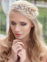 Wholesale Crystal Headbands For Flower Girls - 100% Manual Winding Short Headband For Women Girls Clear Crystal Flower Elegant Pearl Floral Tiaras Wedding Bridal Headpieces