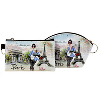 yağlı boya güzel kızlar toptan satış-XYDYY Paris Yağlıboya Kadın Coin Çantalar Güzel Kızlar Arc Kare Mini PU Cüzdan KIMLIK Kartı Tutucu Küçük Değişim Çanta Çanta
